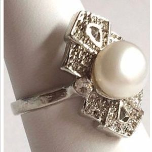 Silver Pearl Art Deco Cocktail Ring Sz 6 7 8 9